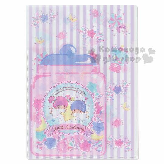 〔小禮堂〕雙子星 日製L型文件夾~紫.直條紋.月亮.糖果罐~糖果文具系列