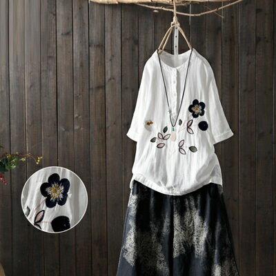 短袖T恤打底衫-文藝清新花朵刺繡女上衣73sj52【獨家進口】【米蘭精品】