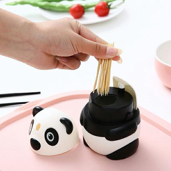 BO雜貨【SV9620】創意時尚自動牙籤筒按壓牙籤筒卡通熊貓自動牙籤罐咖啡廳餐廳小吃居家用品擺飾