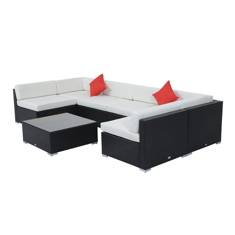 Outsunny 7 Piece Outdoor Patio Rattan Wicker Sofa Sectional Set - Cream 0