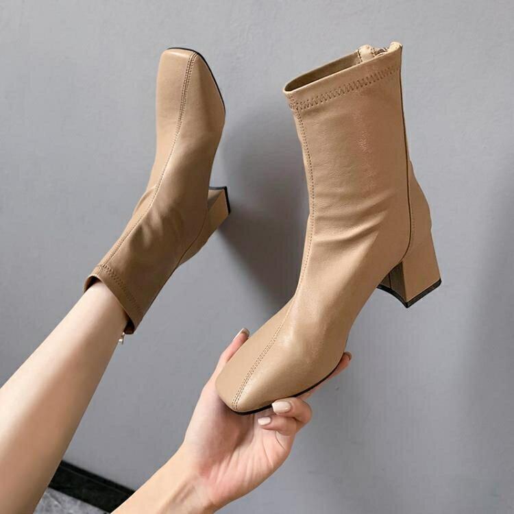 高跟短靴 高跟靴女秋冬季薄款2020年新款英倫風百搭方頭粗跟瘦瘦馬丁小短靴SUPER 全館特惠9折