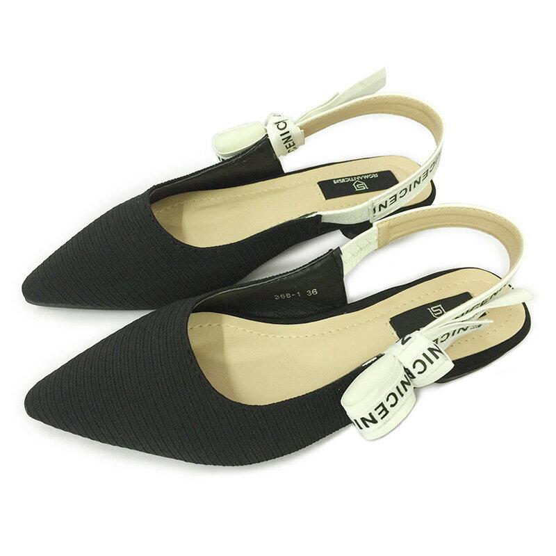 歐美時尚尖頭平底包頭淺口英文字母蝴蝶結涼鞋明星緞帶款