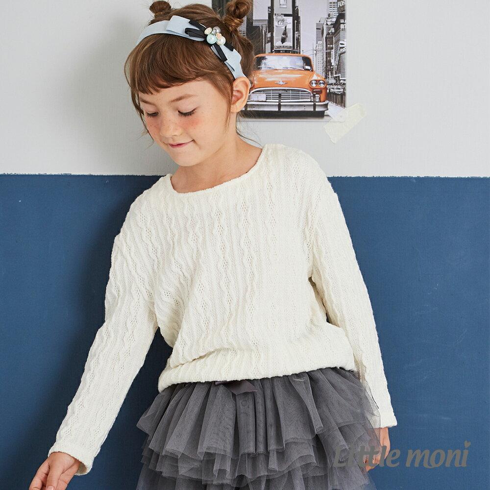 Little moni 針織麻花上衣-象牙白 1