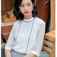 灰姑娘[9S101-PF]小圓領線條滾邊五分薄袖襯衫上衣-灰姑娘衣著館-流行女裝推薦