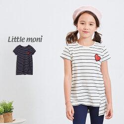 Little moni 閃亮愛心條紋長版上衣-深藍