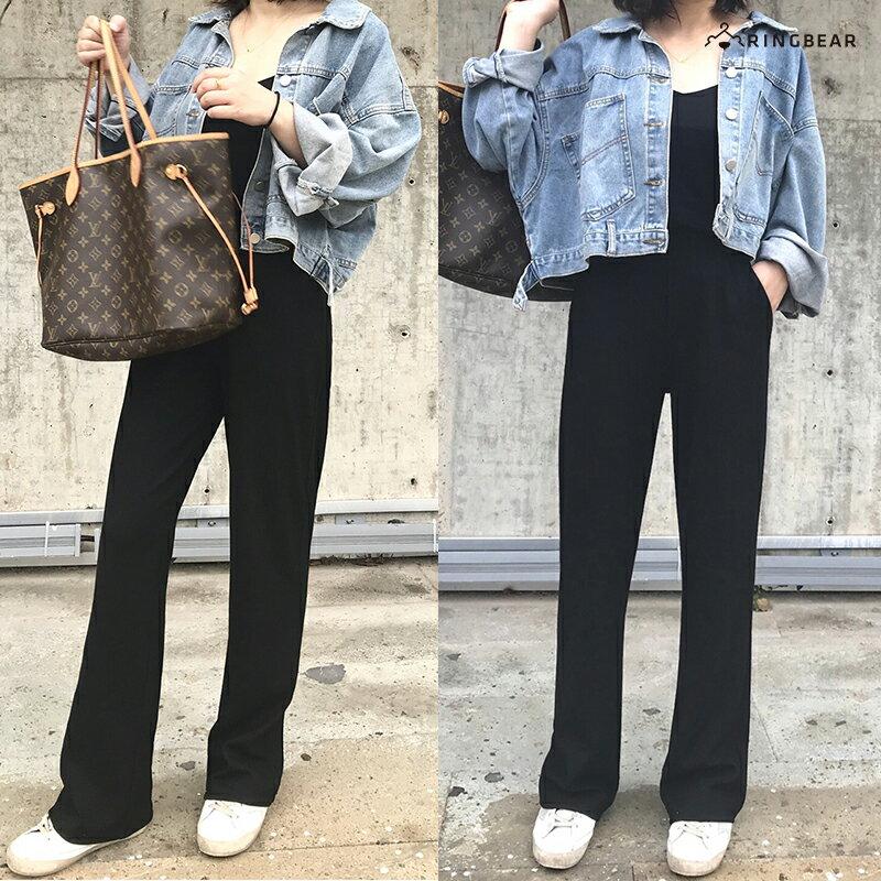 直筒褲--超顯瘦時尚優雅墬感寬鬆百搭鬆緊高腰直筒長褲(黑S-5L)-P146眼圈熊中大尺碼 6
