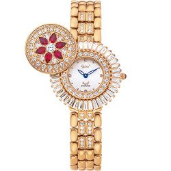 Ogival愛其華 花中花天然寶石珠寶錶 典雅紅 玫瑰金 380-55DLR紅寶石 32mm