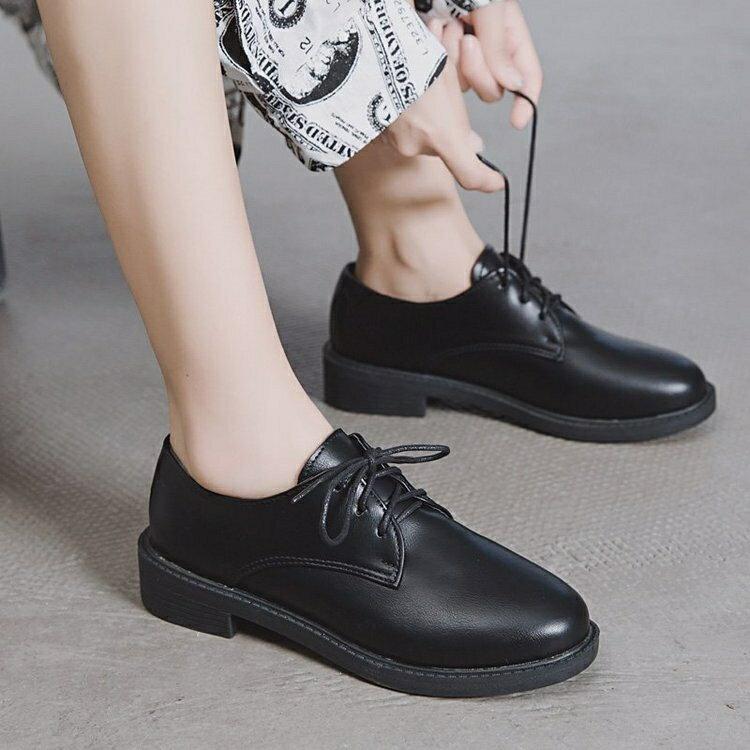 牛津鞋 夏黑色英倫小皮鞋女正裝單鞋子學生百搭平底上班職業工作面試西裝【顧家家】