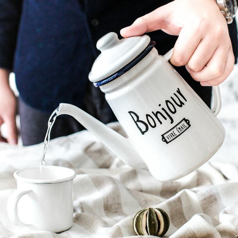 居家法式早安字母家用琺瑯冷水壺 手衝細口咖啡壺 1L