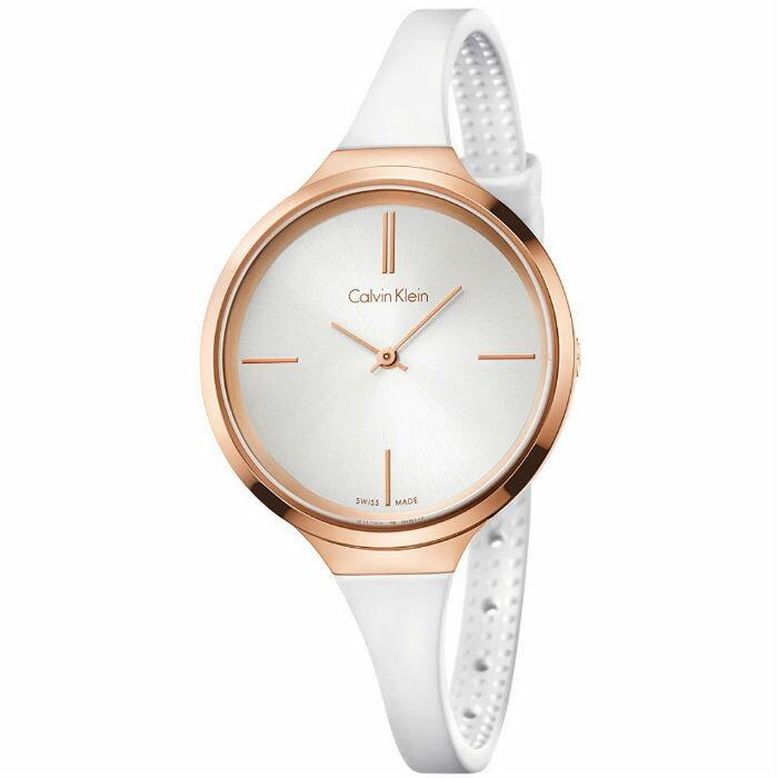 CK 活耀系列(K4U236K6)玫瑰金藝術時尚腕錶/白面34mm