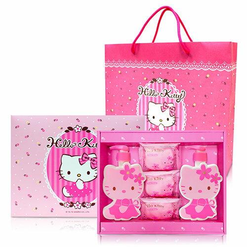 Hello Kitty 凱蒂貓櫻花玻尿酸造型SPA時尚禮盒(1造型沐浴/1造型洗髮/3香氛皂)(僅洗髮乳已即期)