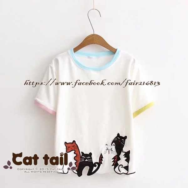 《貓尾巴》TS-0844日系貓咪貼布短袖T恤(森林系日系棉麻文青清新)
