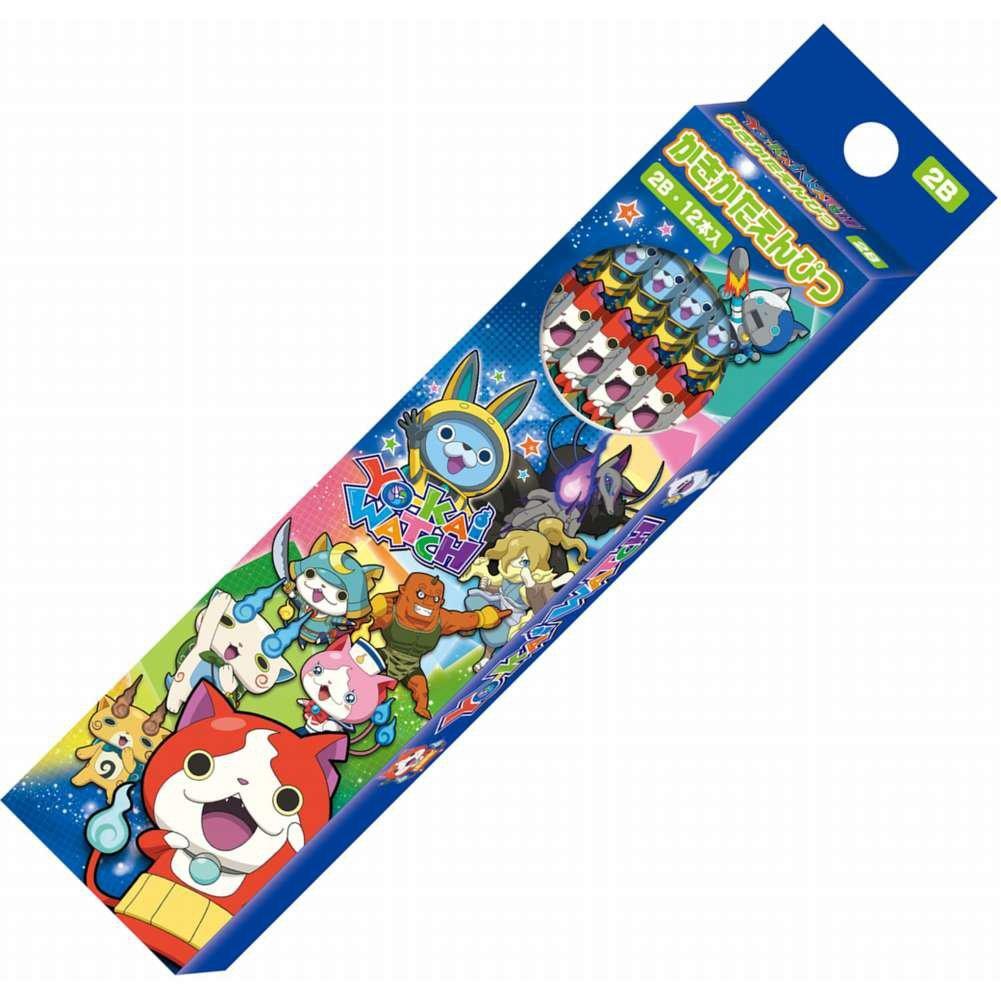 〔小禮堂〕妖怪手錶 日製六角鉛筆組《12支入.藍.銀河.多角色.盒裝》2B筆芯
