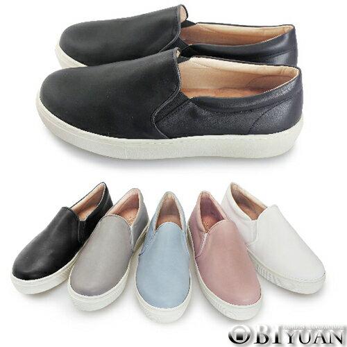 ^(女鞋^)MIT 懶人鞋~QFR09~OBI YUAN素面皮革真皮鞋墊厚底休閒鞋 共5色
