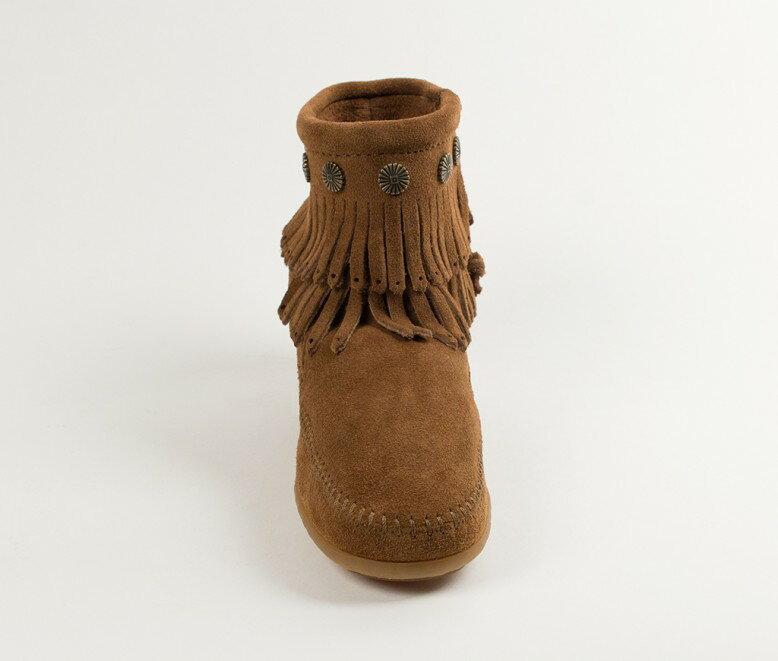 【Minnetonka 莫卡辛】深棕色 - 雙層麂皮流蘇踝靴【全店免運】 4
