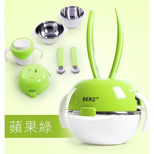 BERZ 英國貝式 彩虹兔五合一組合餐具組-蘋果綠【悅兒園婦幼生活館】
