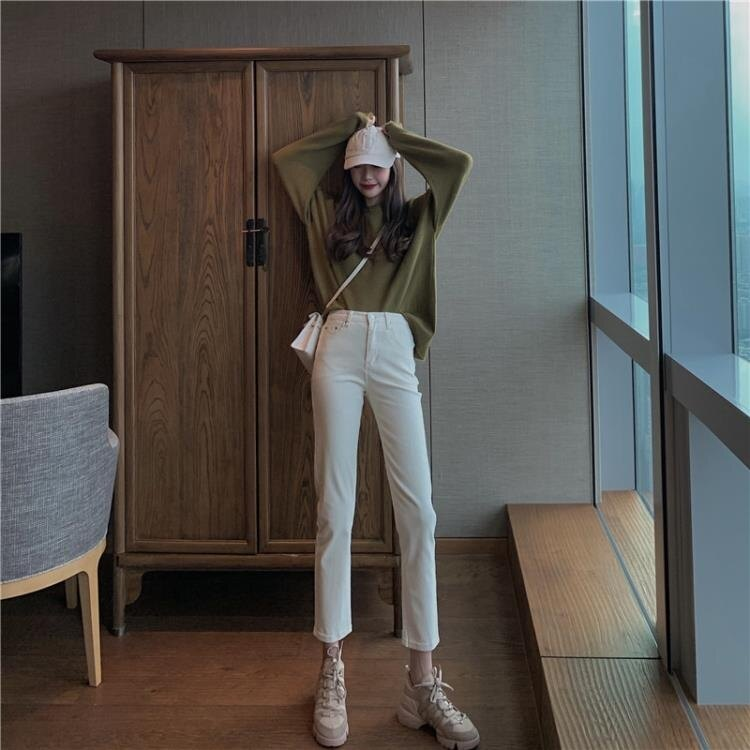 窄管褲 白色牛仔褲女2020年新款寬鬆直筒褲子女高腰顯瘦小個子修身小腳褲