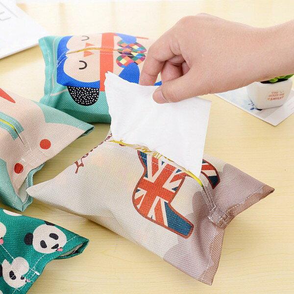 面紙盒 面紙套 紙巾套│可愛動物棉麻抽取式衛生紙套