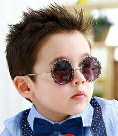 Kocotree◆可愛復古圓框兒童防紫外線護目太陽眼鏡-豆花鏡框