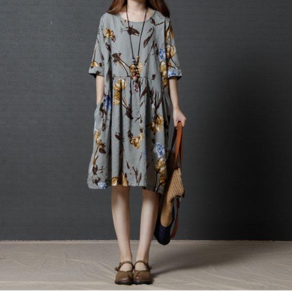 *漂亮小媽咪*韓國魅力花色超質感短袖寬鬆孕婦裝五分袖加大輕薄洋裝D1280