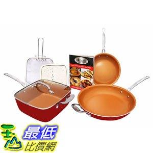 [8美國直購] 陶瓷鍋鈦合金不沾鍋 Gotham Steel 1738 Tastic Bundle 7 Piece Cookware Set Titanium Ceramic Pan Red - 限時優惠好康折扣