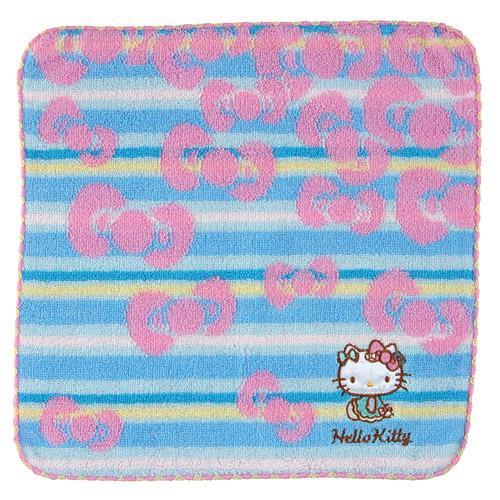 【百倉日本舖】日本進口Hello Kitty藍條紋小方巾