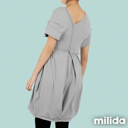 【Milida,全店七折免運】-早春商品-V領款-花苞百褶洋裝 6