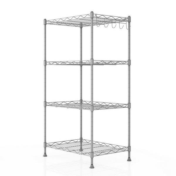 Kitchen Wire Shelving 4-Shelf Storage Organizer Rack Adjustable Height with Side Hooks 4