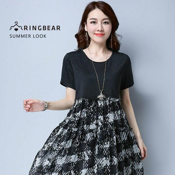 眼圈熊S-7L大小尺碼衣褲專賣:氣質洋裝--圓領短袖水墨畫布紋顯瘦修身腰鬆緊氣質時尚洋裝(黑L-3L)-D430眼圈熊中大尺碼