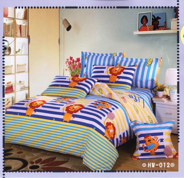 ✧臺灣製✧舒柔棉磨毛超細纖維床包組《HW-0012》5X6.2尺雙人床包組+兩用被 四件組◤彩虹森林◥