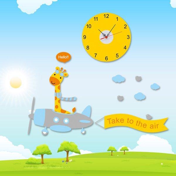 BO雜貨【YV0020】時鐘壁貼 可愛長頸鹿 兒童房教室裝潢佈置 牆貼壁紙貼紙
