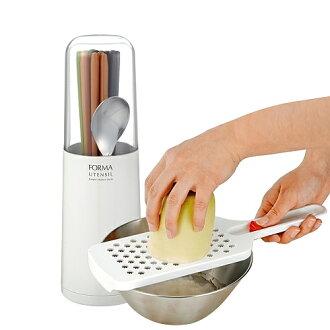 【特惠組】日本ASVEL白色筷匙瀝水筒+蔬果研磨器