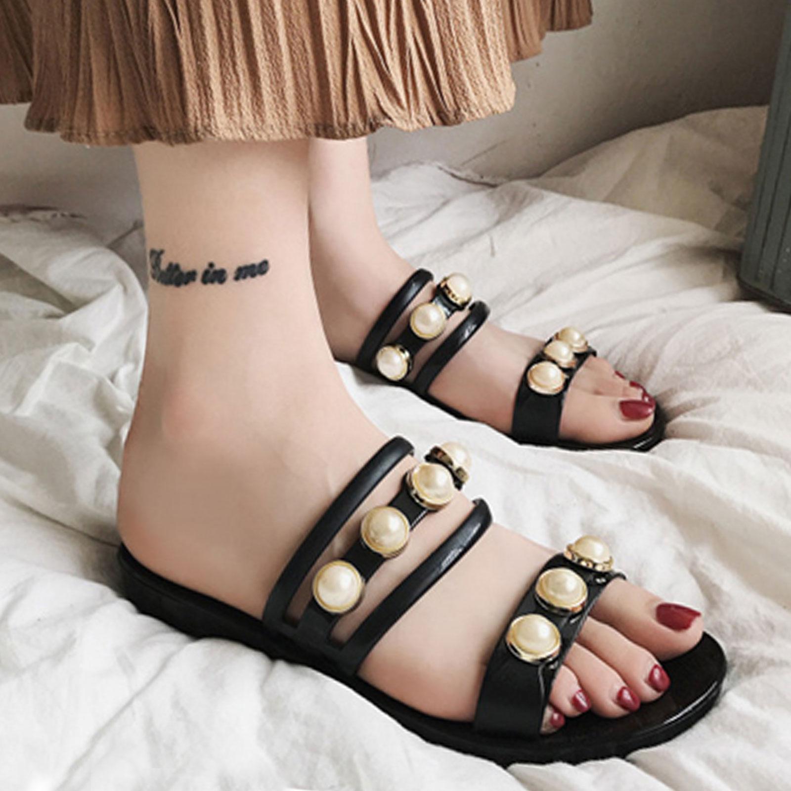 拖鞋 防雨 韓版氣質珍珠一字拖平底拖鞋【S1707】☆雙兒網☆ 2