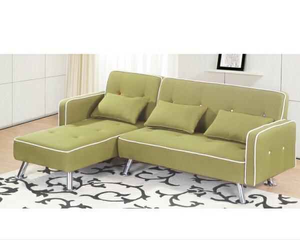 沙發【YUDA】 艾曼達 實木 右L 綠皮 L型沙發 皮沙發 J8F 180-3