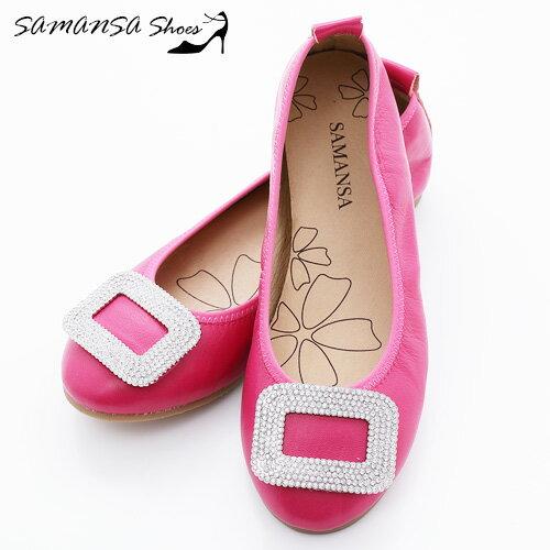 samansa莎曼莎手工鞋:[SAMANSA]台灣製氣質釦戴鑽鑲娃娃鞋--#14203俏麗桃