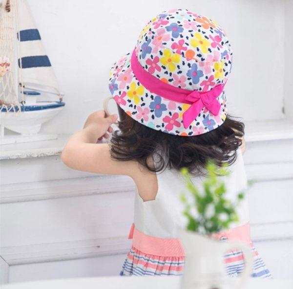 全棉彩色花朵印花蝴蝶結兒童遮陽帽女童漁夫帽盆帽~EMMA商城