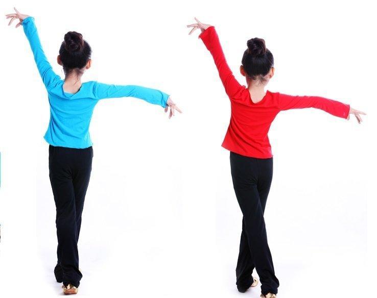舞蒂娜女童舞蹈服裝練功服兒童桃領長袖舞蹈上衣少兒拉丁舞蹈上衣