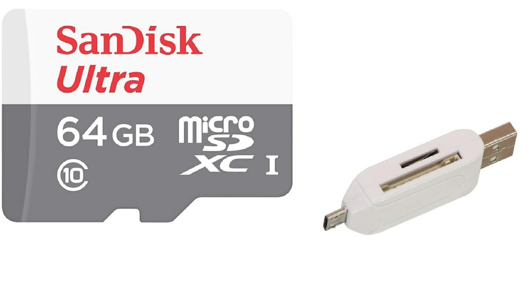 SanDisk Ultra 64GB 80MB/s microSDXC 64G microSD micro SD SDXC UHS-I C10 Class 10 Flash Memory Card SDSQUNS-064G + OEM USB 2.0 OTG Reader 0