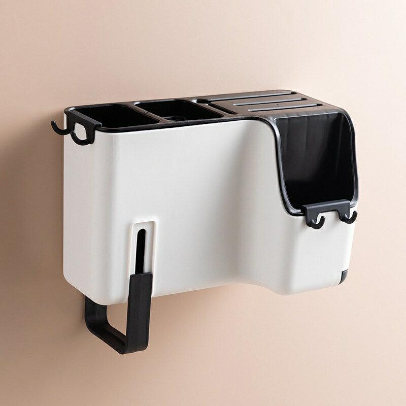 多功能壁掛式筷子籠創意瀝水筷子筒家用餐具刀具勺子收納盒刀架 1