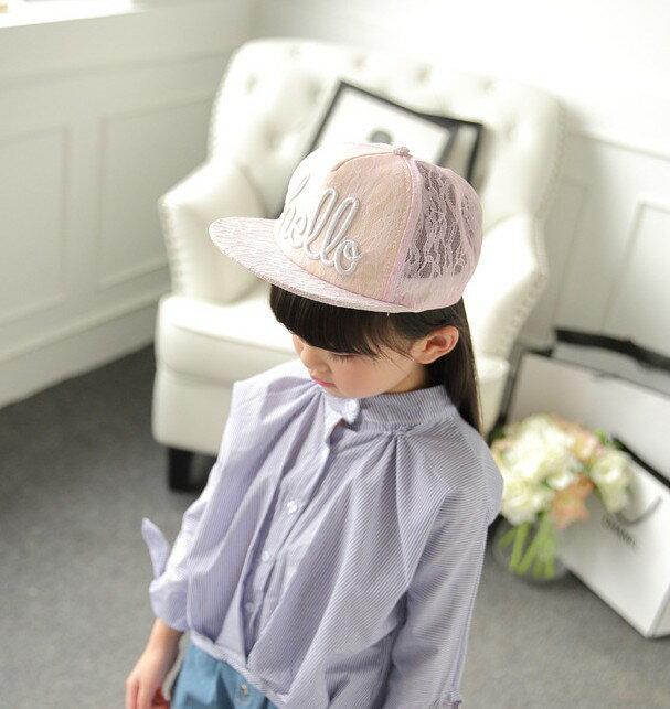 《任意門親子寶庫》兒童網帽 棒球帽【CA033】夢幻Hello蕾絲鴨舌帽