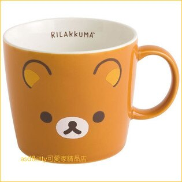asdfkitty可愛家☆日本san-x拉拉熊大臉陶瓷馬克杯-小的-日本製