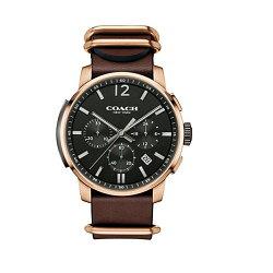 COACH Men Bleecker三眼時尚腕錶/特殊皮帶款/14602019