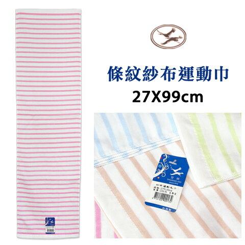 純棉紗布運動毛巾 條紋款 台灣製 雙鶴 SHUANG HO