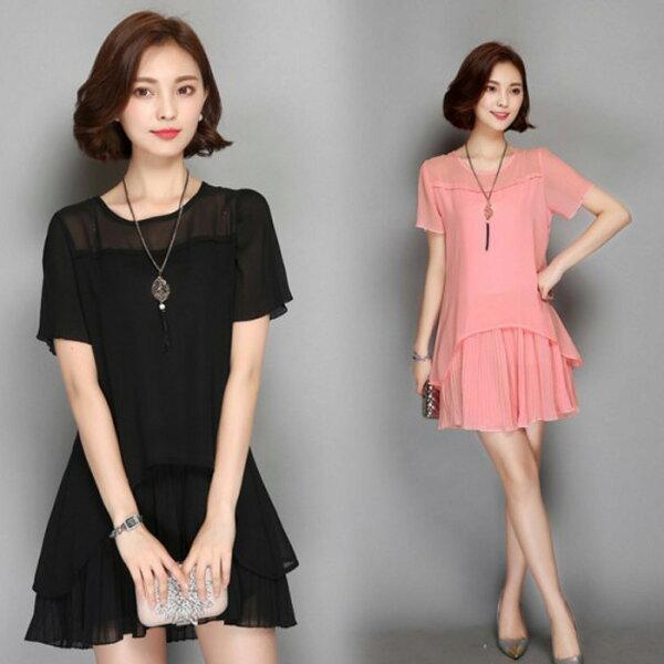 糖衣子輕鬆購【GH1180】韓版時尚寬鬆顯瘦中長款壓摺雪紡連身裙