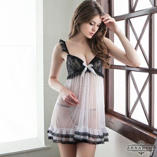 【星鑽情趣精品】大尺碼Annabery黑蕾絲奶白二件式柔紗睡衣(NY14020050)
