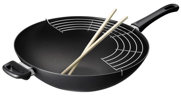 丹麥 思康 SCANPAN Classic 經典系列 單柄中華炒鍋 36cm (含瀝油架、木筷)