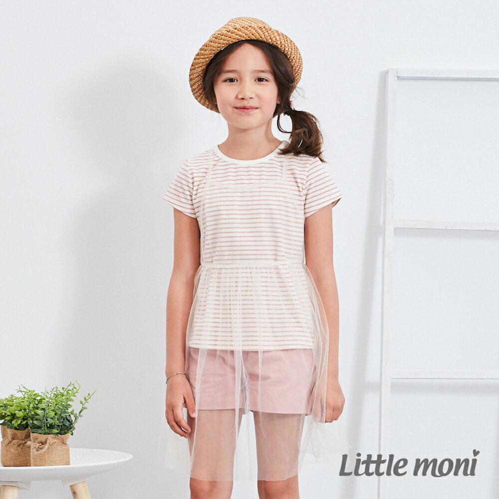 Little moni 網紗假兩件式上衣-粉紅 0