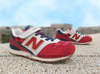 《5折出清》[23cm=實際內長24cm] Shoestw【KV996CCY】NEW BALANCE 574 復古慢跑鞋 童鞋 運動鞋 中童 紅藍格紋 英式