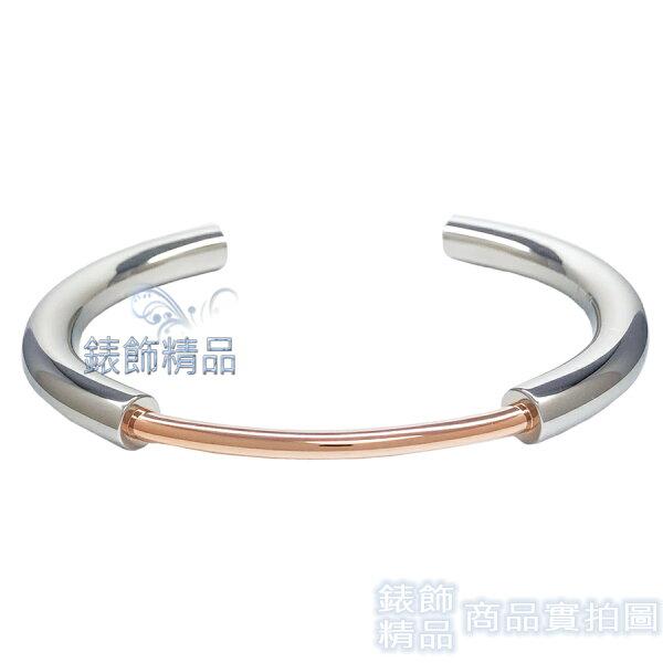 【錶飾精品】CK飾品KJ5FPF2001CalvinKleinPVD玫瑰金+銀C形女性手環316L白鋼