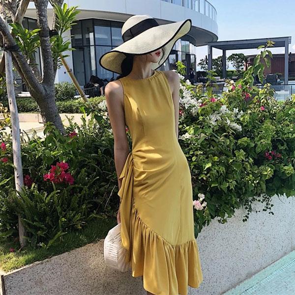 斜邊荷葉洋荷葉邊洋裝無袖魚尾裙連衣裙背心裙長洋裝顯瘦氣質海邊女神韓國婚宴ANNAS.